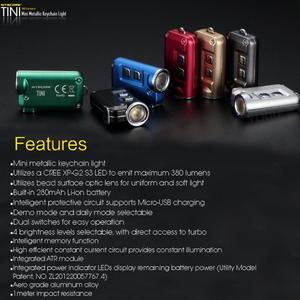 Image 5 - 2018 nowy Nitecore TINI 380 lumenów micro usb charging Mini metaliczny breloczek latarka