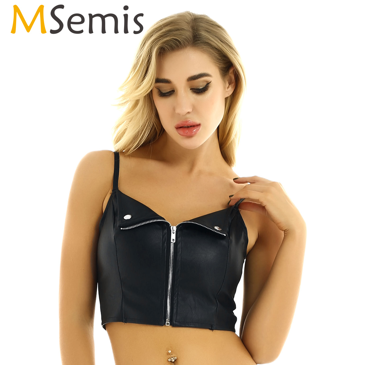 MSemis Women Pole Dance wear Crop Top PU Leather Strip Tease Front Zipper <font><b>Sexy</b></font> Tank Top <font><b>Festival</b></font> Raves Clothes Clubwear Costume image