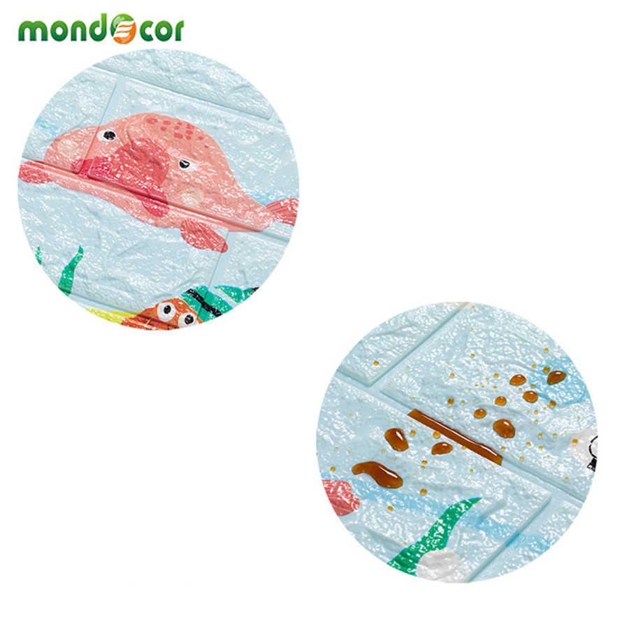 ใหม่ Decor เนอสเซอรี่การ์ตูน PE Foam สติ๊กเกอร์ติดผนังเด็ก Anti-collision กำแพงแผงห้องรับแขก Self Adhesive 3d อิฐวอลล์เปเปอร์
