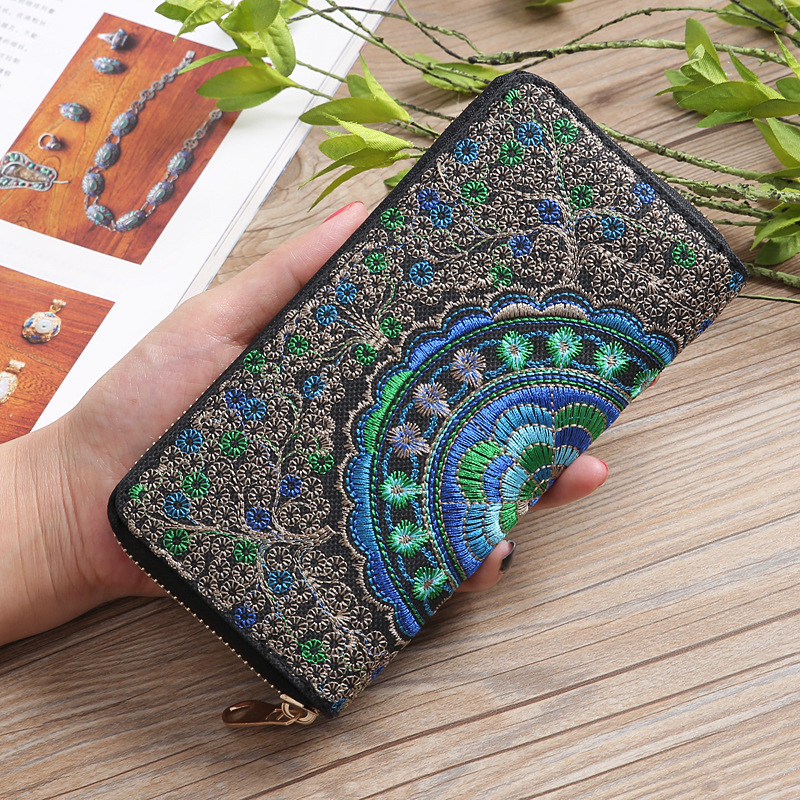Women Canvas Embroidery Wallet Lady Spain Brand Knit Purse Female Long Zipper Card Holder Girl Money Clip Phone Clutch Wa0120