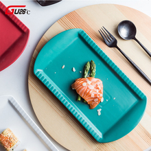 12 Inch Nordic Solid Color Dinner Plate Ceramic Sushi Cake Fish Dishes Rectangle Household Dinnerware Ceramica Plates