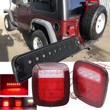 Para jeep tj acessórios led parar luz da cauda reversa luzes traseiras da placa de licença com 3rd luzes de freio para jeep wrangler tj 97-06