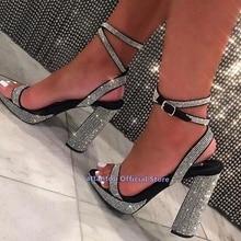New Spring Summer black chunky heeled strappy gladiator diamond Wrapped platform sandals