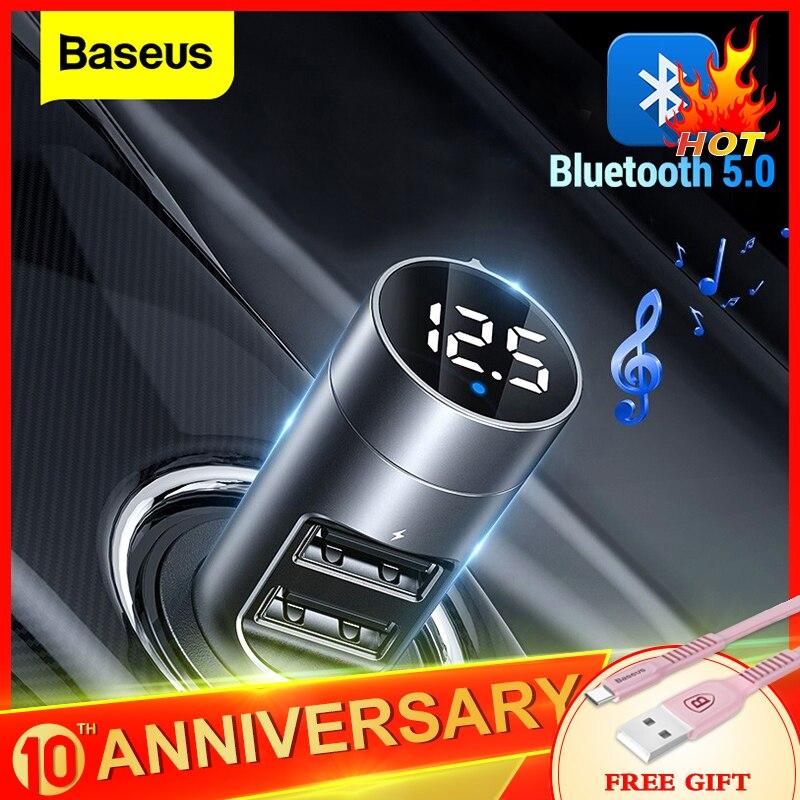 Baseus FM передатчик автомобильный Bluetooth 5,0 FM радио модулятор Автомобильный комплект 3.1A USB Автомобильное зарядное устройство Handsfree беспроводной...
