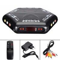 Interruptor de Audio y vídeo 4 en 1, Selector de caja con Control remoto y adaptador de enchufe europeo de 100-240V, negro, RCA, AV