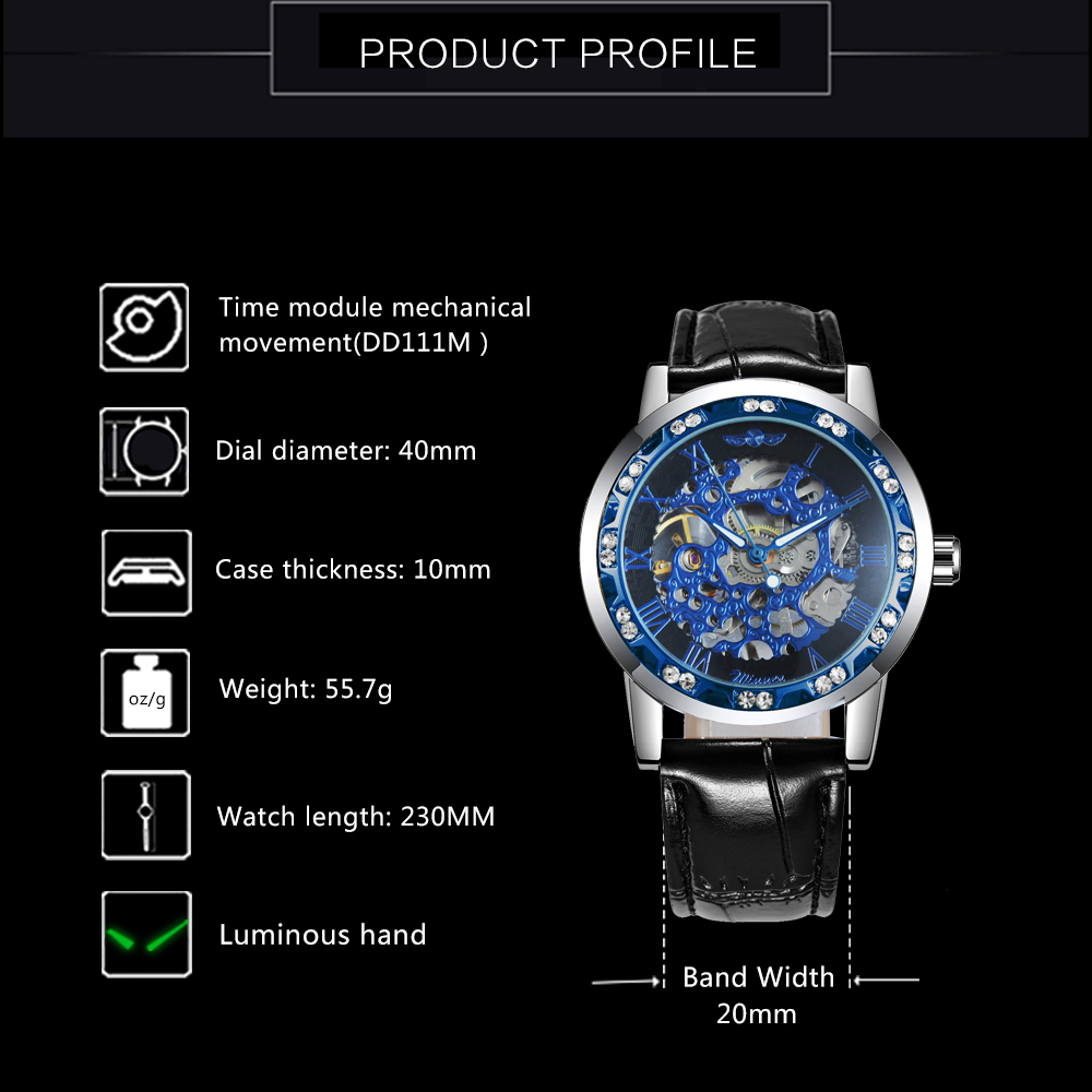 H00c7faa33ed74fc984556f7c6e2ba5f27 WINNER Fashion Business Mechanical Mens Watches Top Brand Luxury Skeleton Dial Crystal Iced Out Wristwatch Hot Sale Clock 2019
