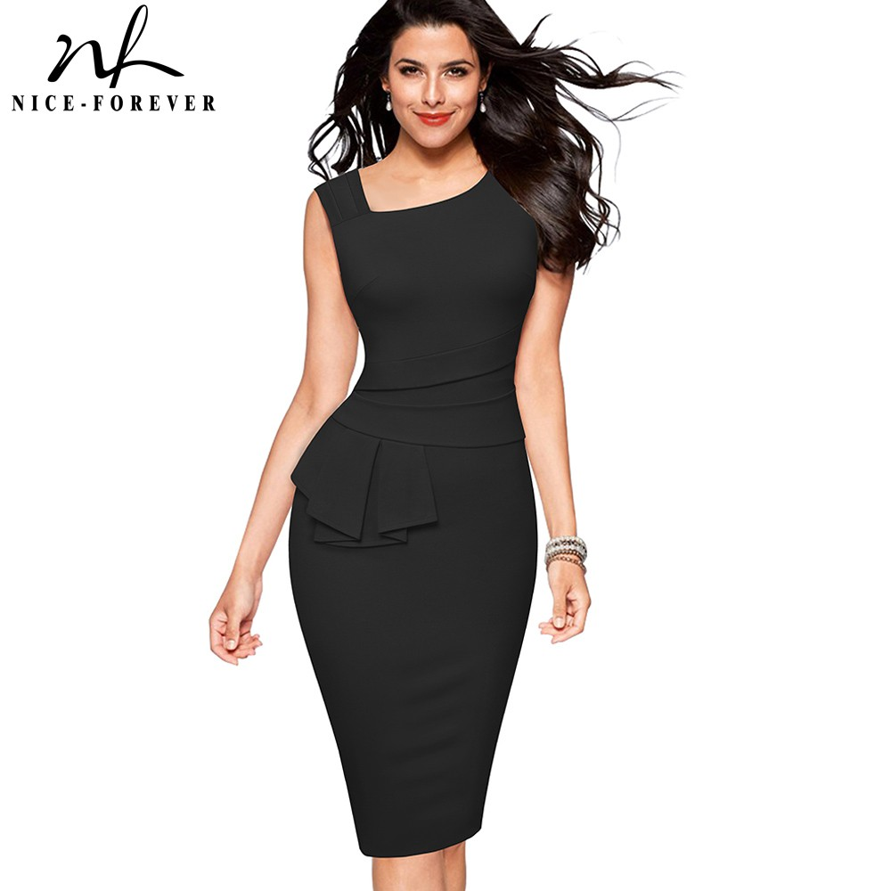 Nice-Forever Elegant Pure Color Wear To Work Office Vestidos Business Party Bodycon Peplum Women Peplum Dress B586