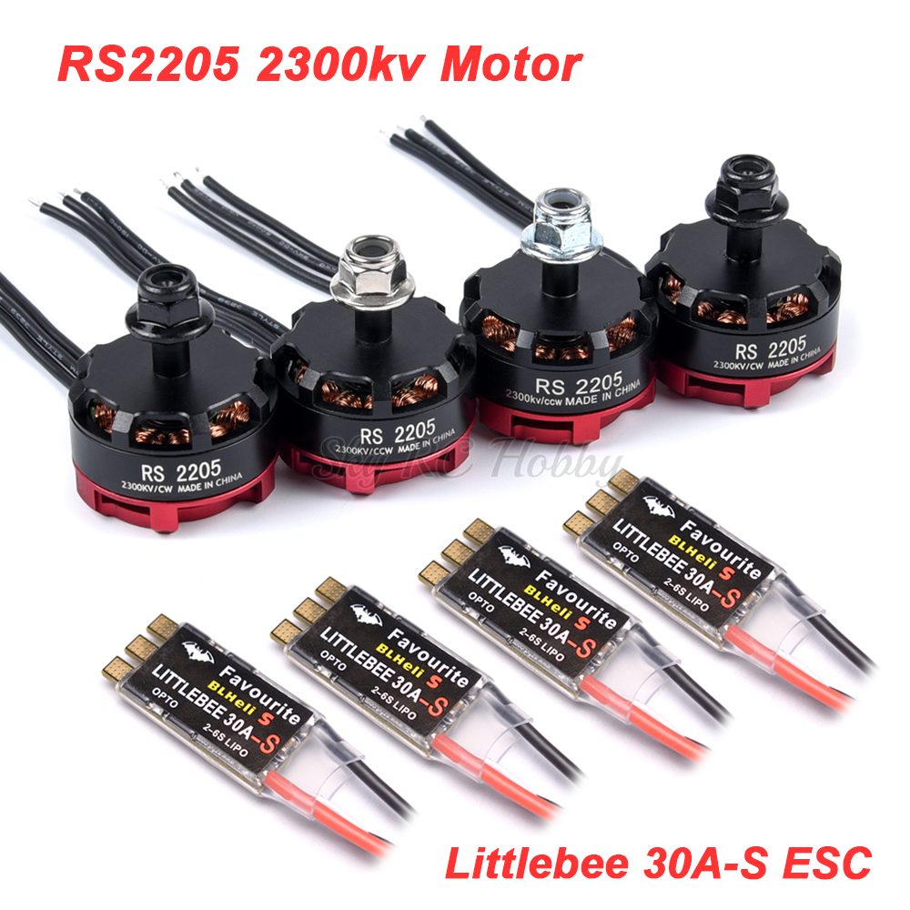 RS2205 2205 2300KV CW CCW Brushless Motor + LittleBee 30A BLHeli_S ESC For FPV RC Racing Drone Martian II QAV-R 220mm Chameleon