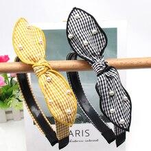 Hair Accessories Fashion Striped Rabbit Ear Women Hairband Pearl Plastic Hoop With Anti-slip Teeth Female Headband Headwear