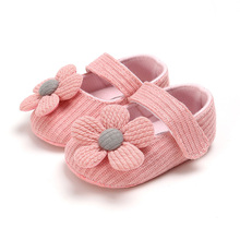 Cute Flower Baby Shoes Knitted Newborn Infant First Walkers Spring Autumn Soft Sole Non Slip Toddler Baby Girl Shoes