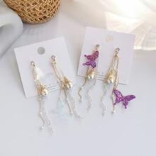 Korean Design Purple Gradient Butterfly Earrings 2020 Summer Glitter Crystal Long Tassel Earrings for Women Statement Jewelry недорого