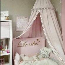 Bawełniana dekoracja do pokoju dziecięcego kulki moskitiera zasłona łóżka dla dzieci baldachim okrągły szopka namiot siatkowy fotografia rekwizyty Baldachin 245cm
