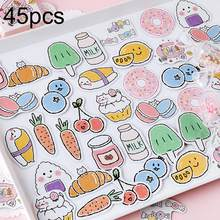 45Pcs Donut Wortel Melk Cherry Snacks Patroon Sticker DIY Scrapbook Album Decor home Decoration Room Wall Art(China)