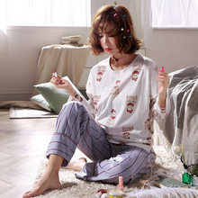 2019 new casual pajamas for women autumn cartoon printing fruit pineapple cute home service clothing cotton set PJ