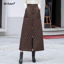 Zwart Down katoen plus size vintage 2019 hoge taille kleding herfst winter casual loose lange rokken vrouwen rok vrouwen streetwear