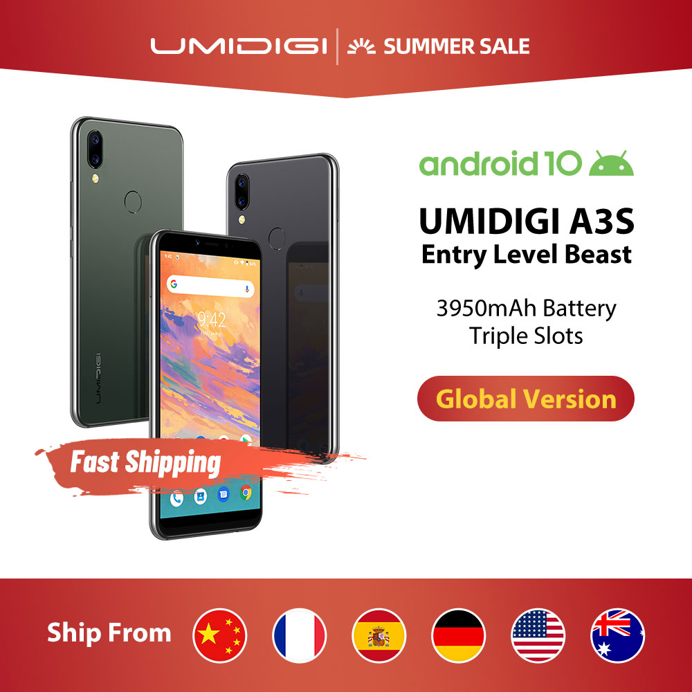 "UMIDIGI A3S Android 10 Global Band 3950mAh Dual Rear Camera 5.7"" Smartphone 13MP Selfie Triple Slots Dual 4G VoLTE Celular(China)"