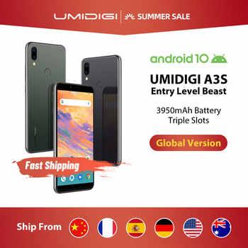 """Umidigi a3s android 10 banda global 3950mah câmera traseira dupla 5.7 """"smartphones 13mp selfie triplo slots duplo 4g volte celular"""