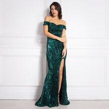 с плеча  зеленое Платье блестками длинное платье длина полаплатье