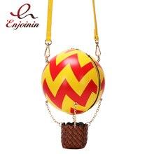 Bolso con diseño de globo de aire caliente para mujer, bandolera a rayas de Color, bolso cruzado