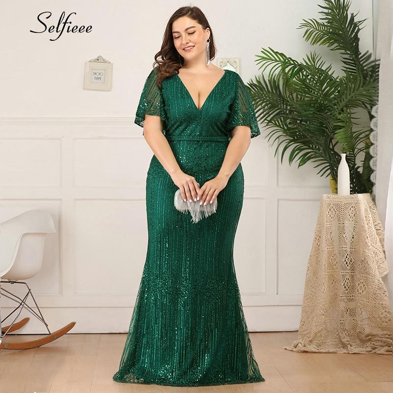 Elegant Women Dress Plus Size Sequined Ruffles Sleeve Deep V-Neck Tulle Ladies Sparkle Mermaid Maxi Dress For Party Robe Femme