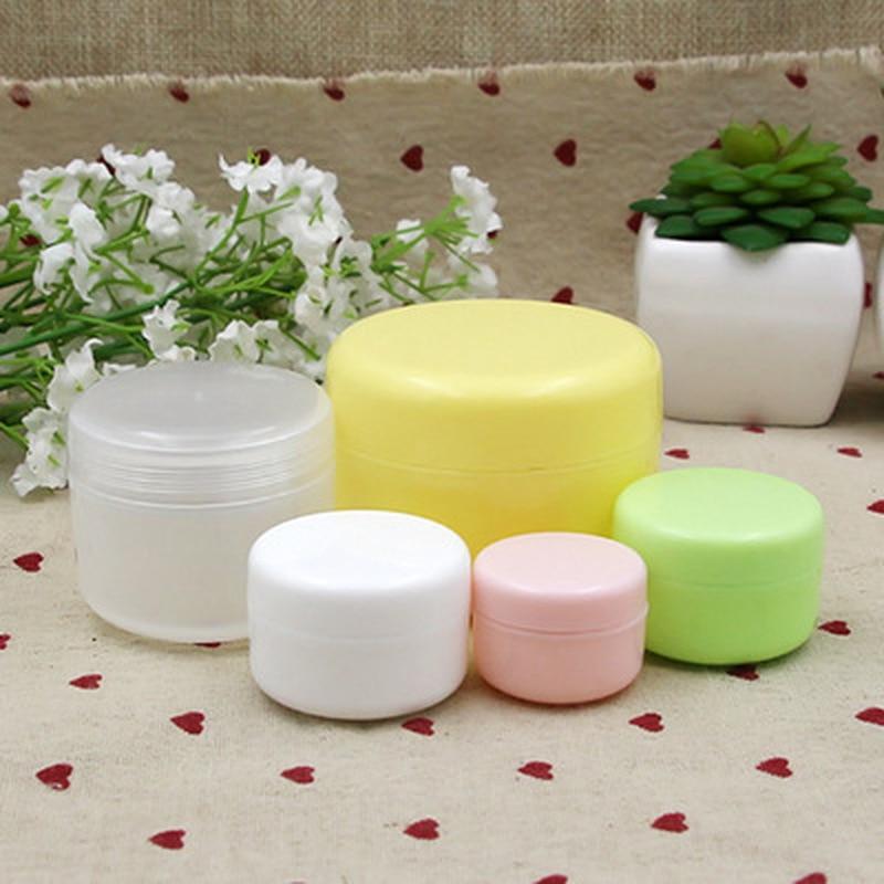 1pcs/5pcs10pcs/Lot Refillable Bottles Plastic Empty Makeup Jar Pot Travel Face Cream/Lotion/Cosmetic Container 4 Colors 10g