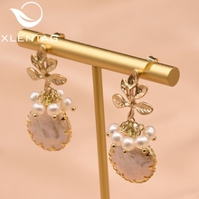 XlentAg Natural Fresh Water Baroque Pearl Drop Earrings Women Plant Leaves Dangle Luxury Handmade Fine Jewelry GE0308