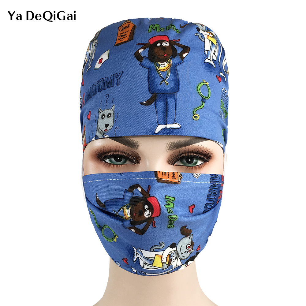 Operating Room Hats Doctors Nurses Surgery Caps Beauty Breathable Cotton Europe And The United States Printed Adjustable Pet Hat