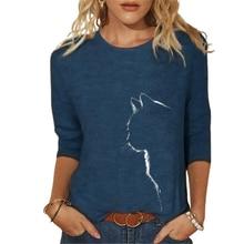 Femmes Vêtements Printemps été Décontracté Vêtements femme Drôle Mignon Chat 3D Imprimé Manches Longues T-Shirts Femmes Dames Hauts À La Mode