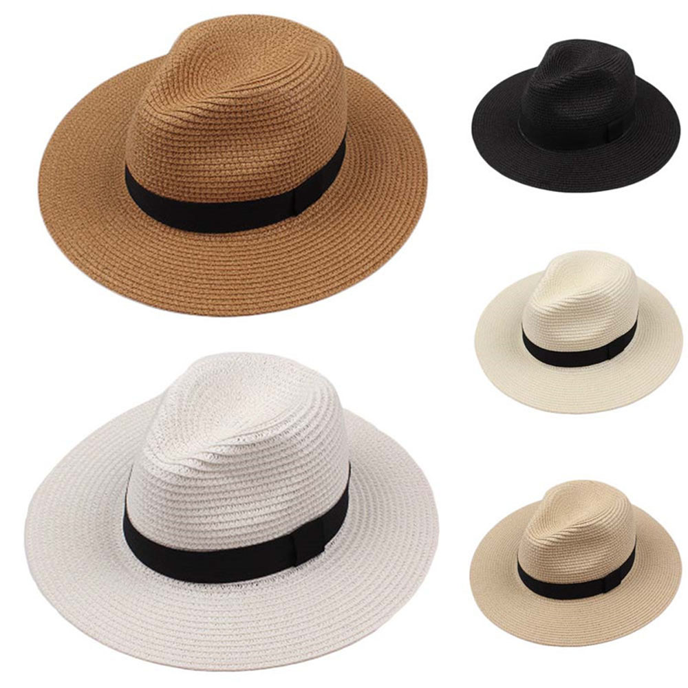 2020 Whosale Breathable Beach Straw Hat Sun Protection Ribbon Foldable High Quality Panama Chapeaus
