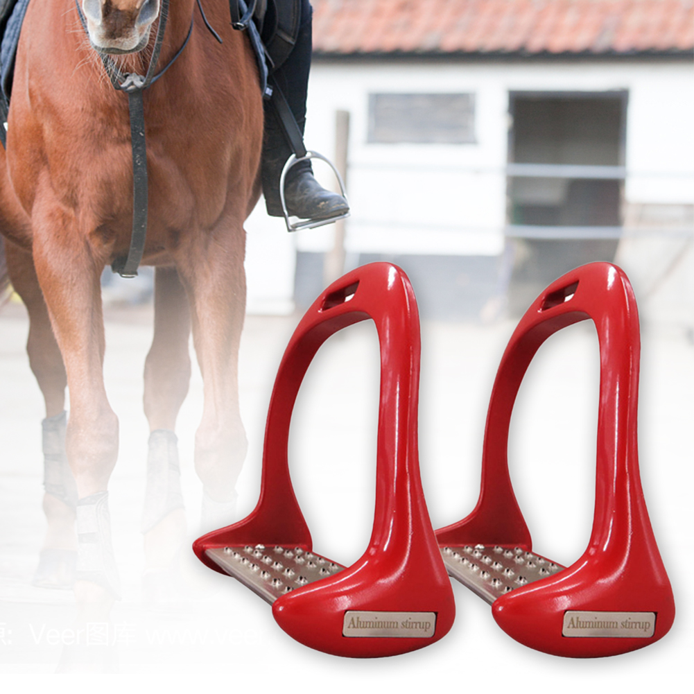 1 Pair Equestrian Safety Riding Anti Slip Saddle Lightweight Aluminium Alloy Supplies Thickened Treads Pedal Horse Stirrups