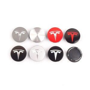 1set 56mm Car Styling Wheel Tire Rim Cover Center Hub Cap Wheel Nut Exterior Decor For Tesla Model 3 X S Universal Accessories(China)