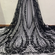 2019 Black White African Sequin Lace Fabrics High Quality 3D Flowers Nigerian Tulle Lace Fabric with Beads For Wedding Dress