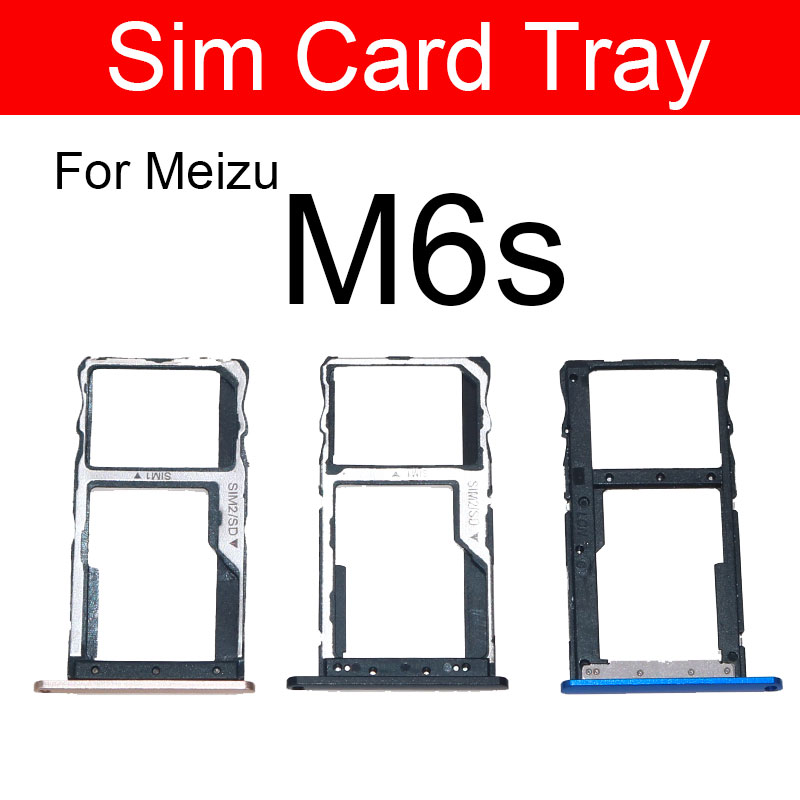 SIM Card Tray Holder For Meizu Meilan Blue Charm S6 M6s Sim Card Reader Slot Socket Adapters Replacement Repair Parts