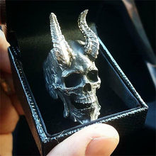 Gothic Large Devil Satan Skull Shape Ring for Men's Women's Punk Hip Hop Finger Accessories Rock Club Finger Jewelry Gift