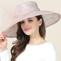 Mingli Tegnda Bounet Exaggerated Big Brim Hat Formal Hat Cambric Banquet Bride Wedding Hats And Fascinators Accessories Cap