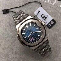 Reloj mecánico automático de acero inoxidable para hombre, pulsera con movimiento grabado, zafiro Nautilus, Parte posterior transparente, esfera azul