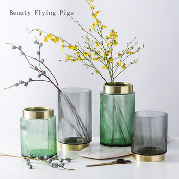 Direct sales new light luxury wind colored glass vase with gold ring water culture flower model room desktop decoration