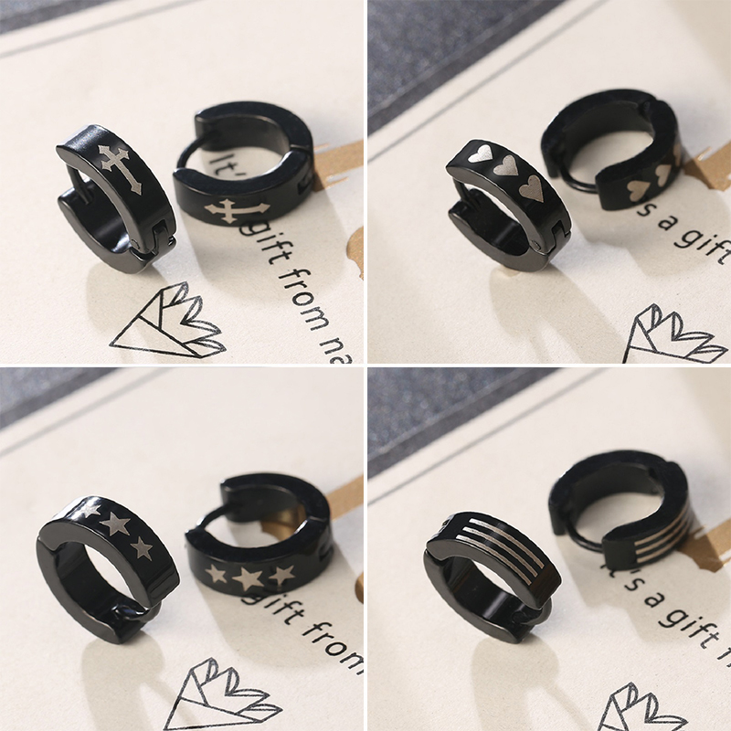 Fashion Black Color Small Stainless Steel Simple Hoop Earrings for Women Men Punk Ear Buckle Circle Jewelry Gifts Hot Selling