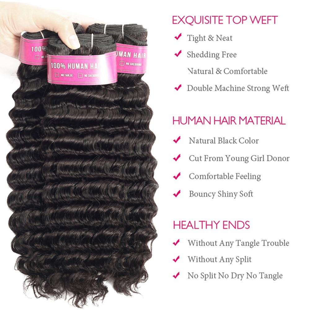 SA Ship  Deep Wave Hair Bundles With Closure  s 3 Bundles Deep Wave With Closure 3