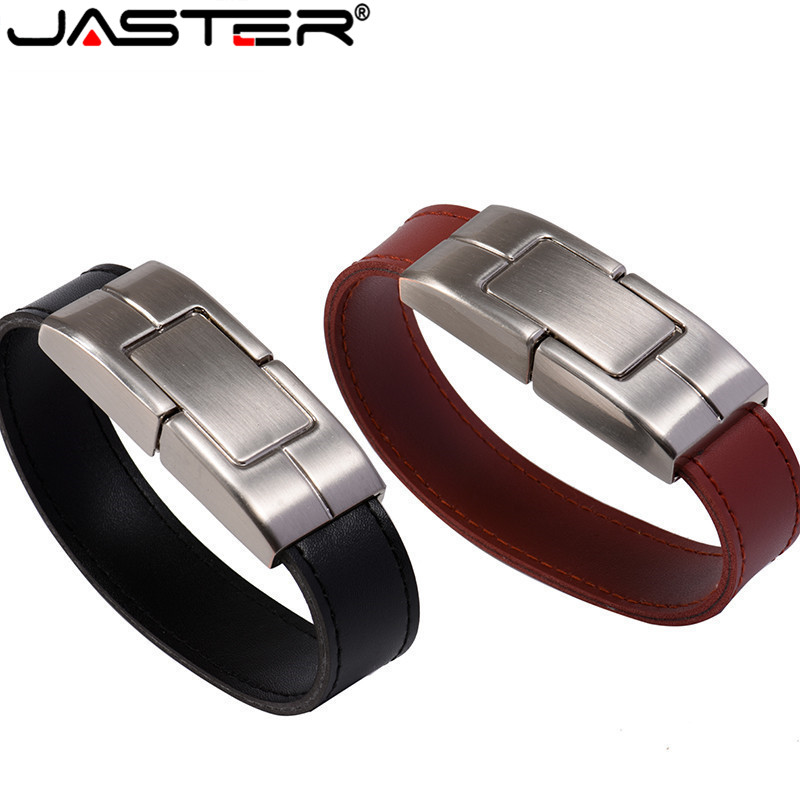 JASTER USB Flash Drive 64gb Leather Metal Keyring Pendrive Creativo 32gb 16gb 8gb 4gb Usb2.0 Wrist Band