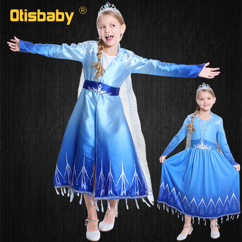 Winter Disguise Long Sleeve Elsa Dress For New Year Girls Fantasia Infantil Child Snow Queen Children's Party Carnival Costume