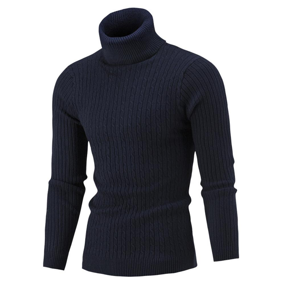 New Men Solid Color Long Sleeve Turtle Neck Pullover Slim Knit Sweater Jumper Top