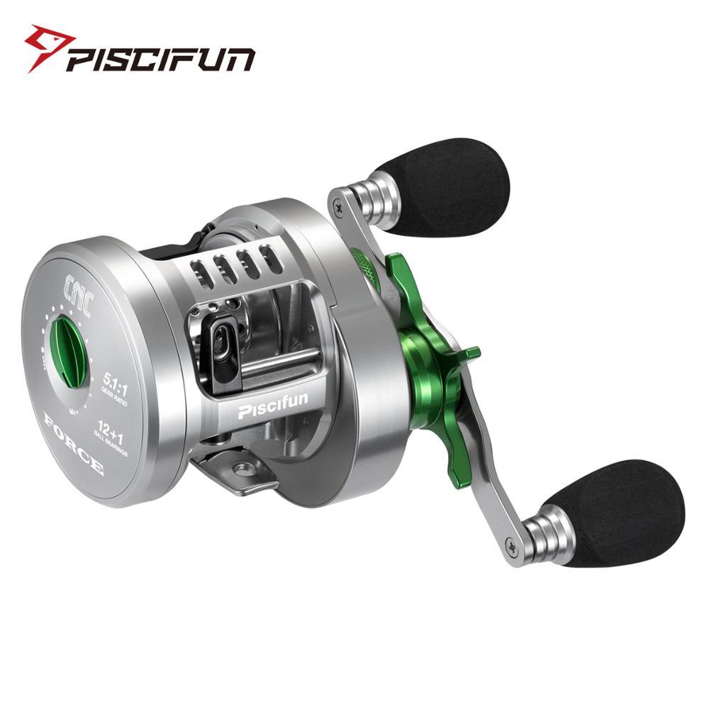 Piscifun fuerza ronda dos secciones rollo totalmente de aluminio mecanizado 12 + 1 rodamientos de acero inoxidable 5,1: 1 carrete de pesca