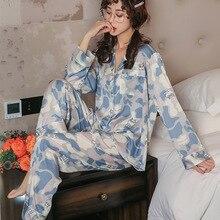 New Sleepwear Simulation Silk Pajamas Women Long Sleeve Cardigan Casual Womens Home Service Two piece Suit Pigiama Estivo Donna