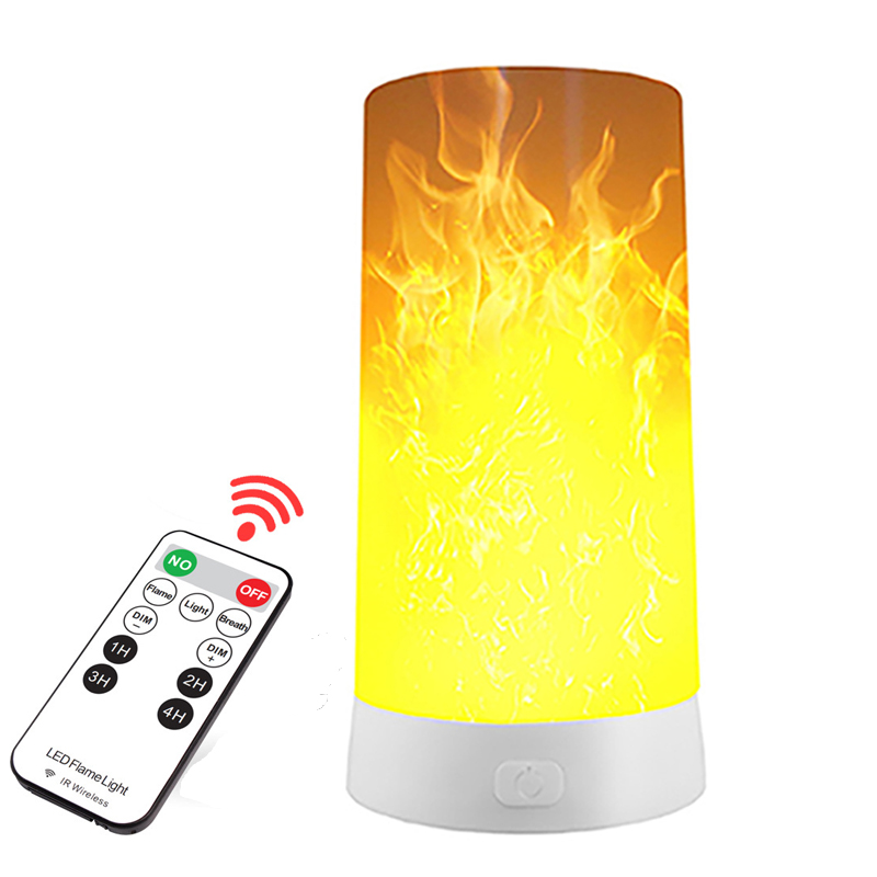 LED Flame Effect Light Portable Fire Flickering Remote Control USB Rechargeable Magnetic Lamp Simulated Atmosphere Decor Light