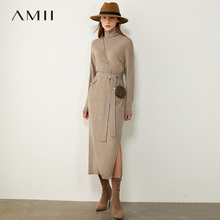 AMII Minimalism Autumn Fashion Knitted Women Dress Solid Tur