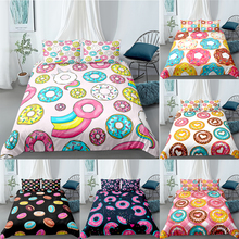 Candy Bedding Set Donuts Duvet Cover Set Boy Girl Kids Bed Cover Quilt Cover Cartoon Donuts Home Textile Children Bedclothes