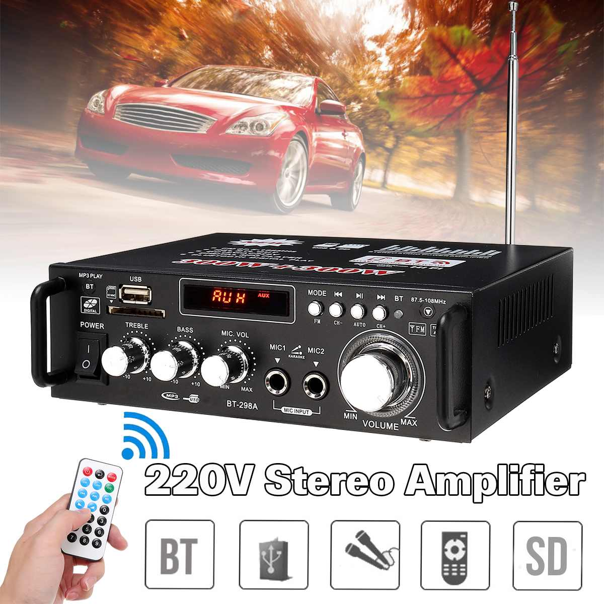 600w Home Amplifiers Audio Bluetooth Amplifier Subwoofer Amplifier Car Amplifiers Mini Amplifier Professional Sound System