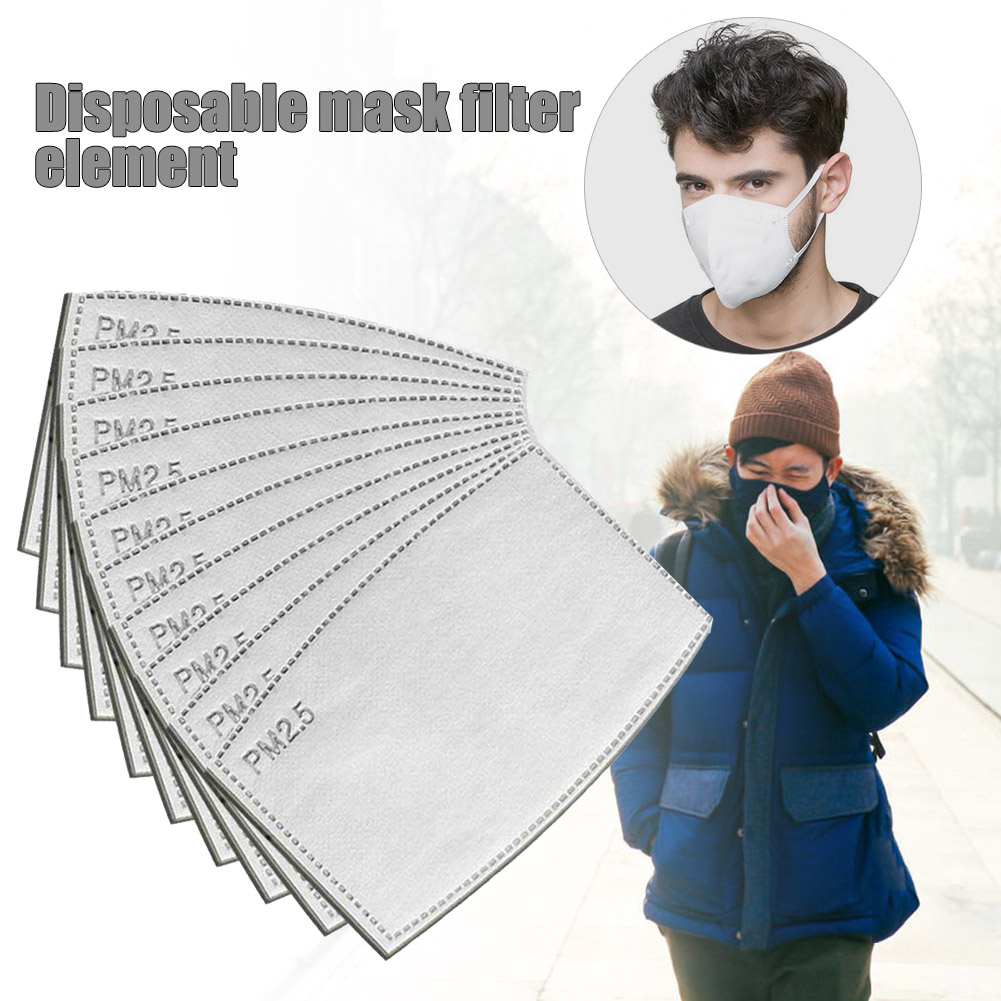 10Pcs/Lot 5 Layers PM2.5 Activated Carbon Filter Insert Protective Filter Media Insert For Mouth Mask Anti Dust Mask 2020