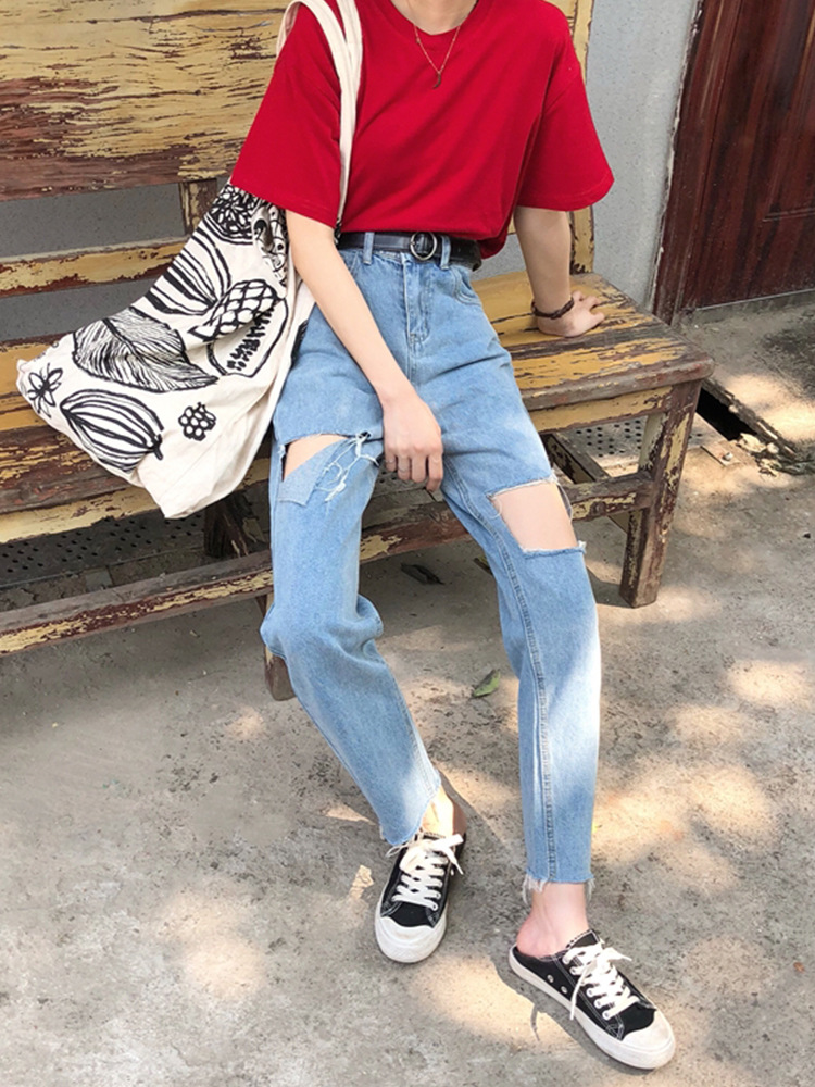 Autumn Clothing WOMEN'S Dress 2019 New Style Korean-style Burrs Large With Holes Beggar High-waisted Slimming Jeans Straight-leg
